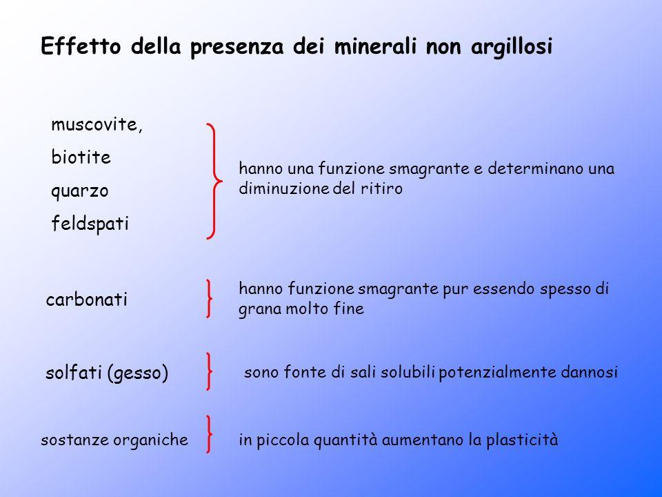 Effetto della presenza dei minerali non argillosi