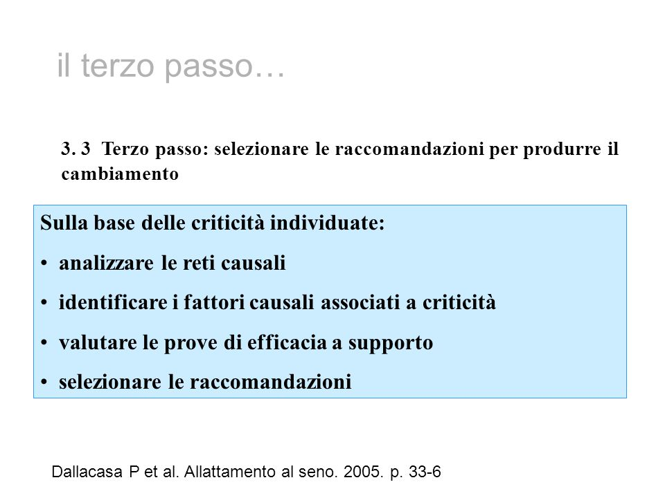 il terzo passo… Sulla base delle criticità individuate: