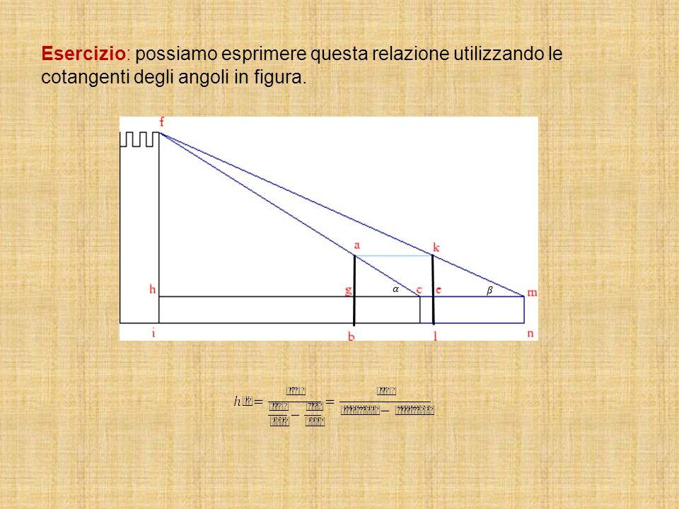 Esercizio: possiamo esprimere questa relazione utilizzando le cotangenti degli angoli in figura.