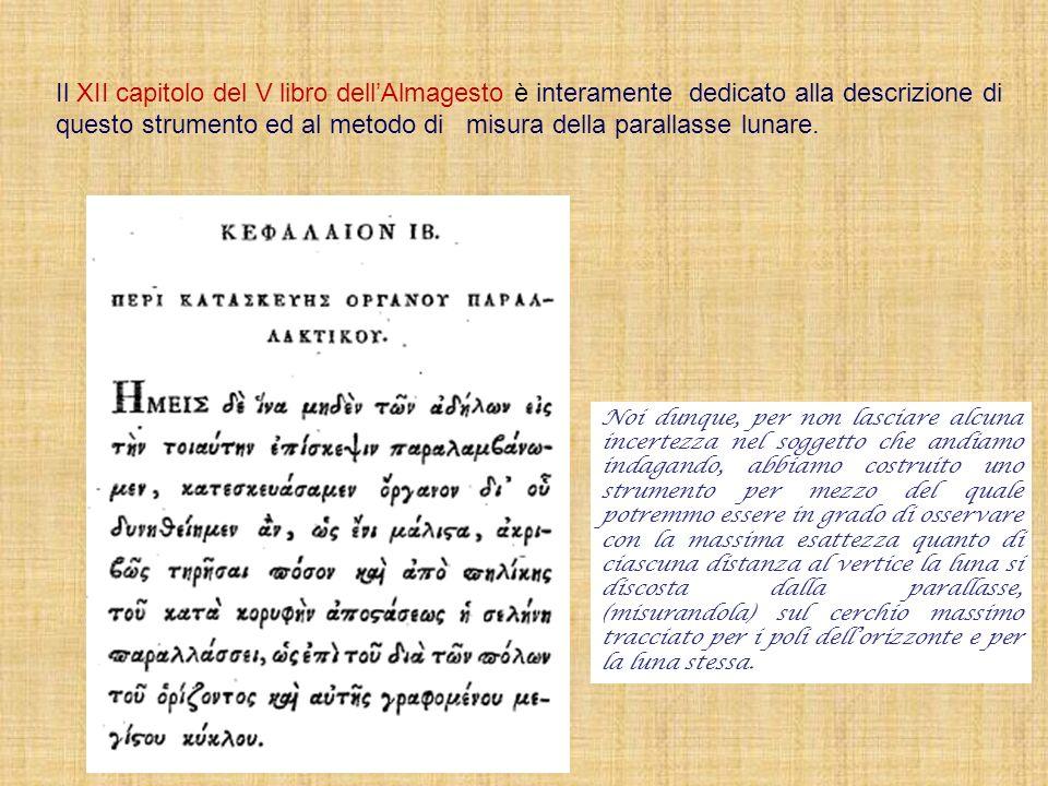 Il XII capitolo del V libro dell'Almagesto è interamente dedicato alla descrizione di questo strumento ed al metodo di misura della parallasse lunare.
