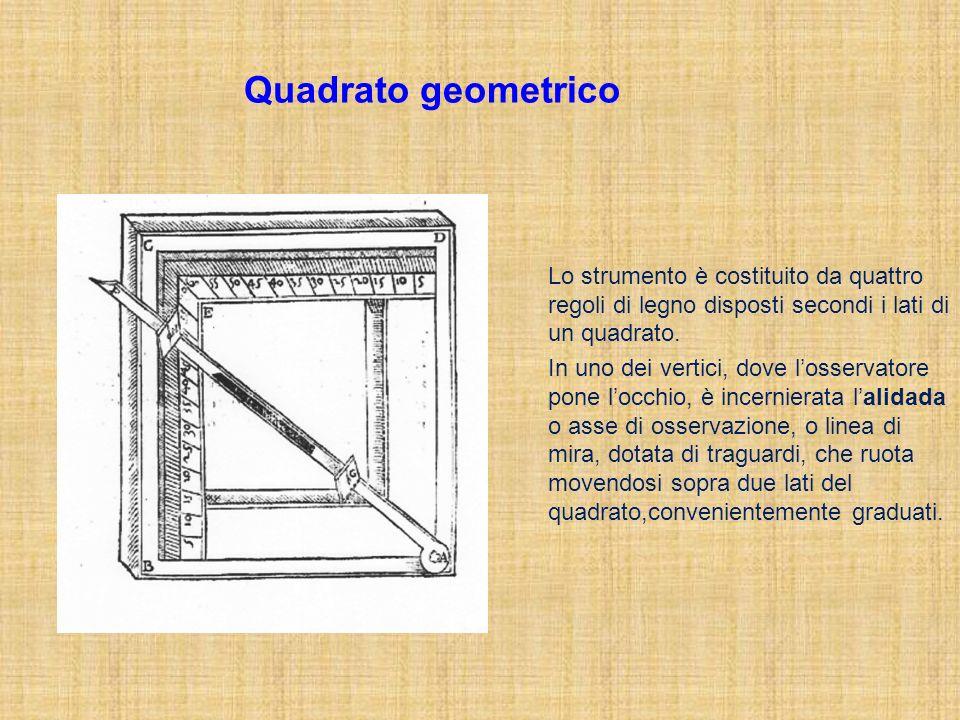 Quadrato geometrico Lo strumento è costituito da quattro regoli di legno disposti secondi i lati di un quadrato.