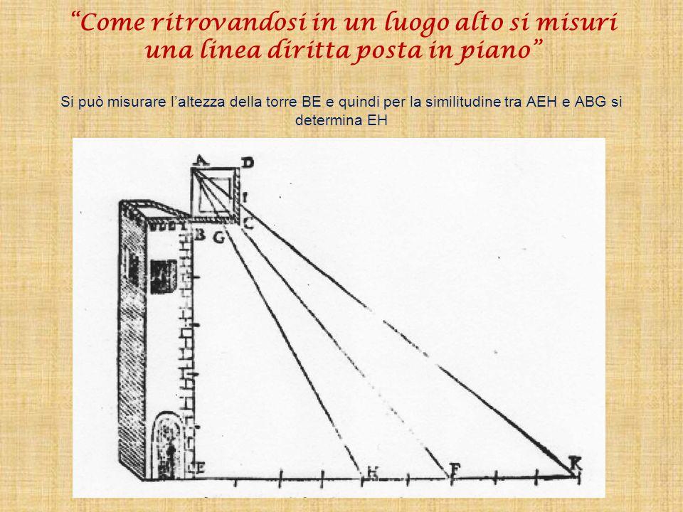 Come ritrovandosi in un luogo alto si misuri una linea diritta posta in piano Si può misurare l'altezza della torre BE e quindi per la similitudine tra AEH e ABG si determina EH