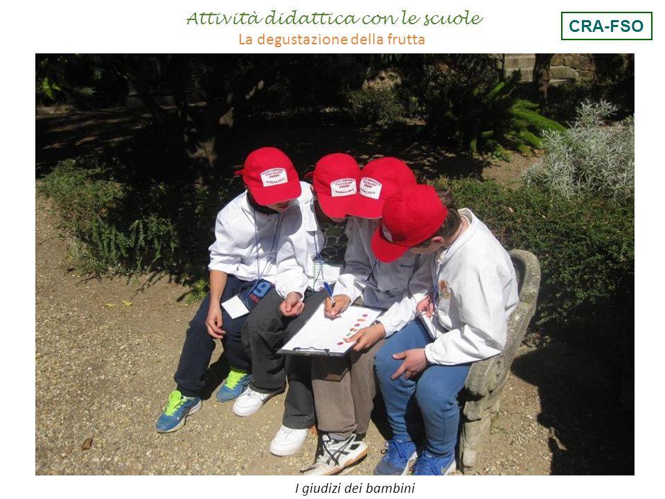 Attività didattica con le scuole La degustazione della frutta CRA-FSO
