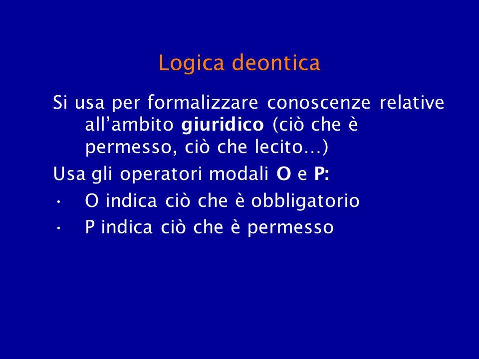 Logica deontica Si usa per formalizzare conoscenze relative all'ambito giuridico (ciò che è permesso, ciò che lecito…)