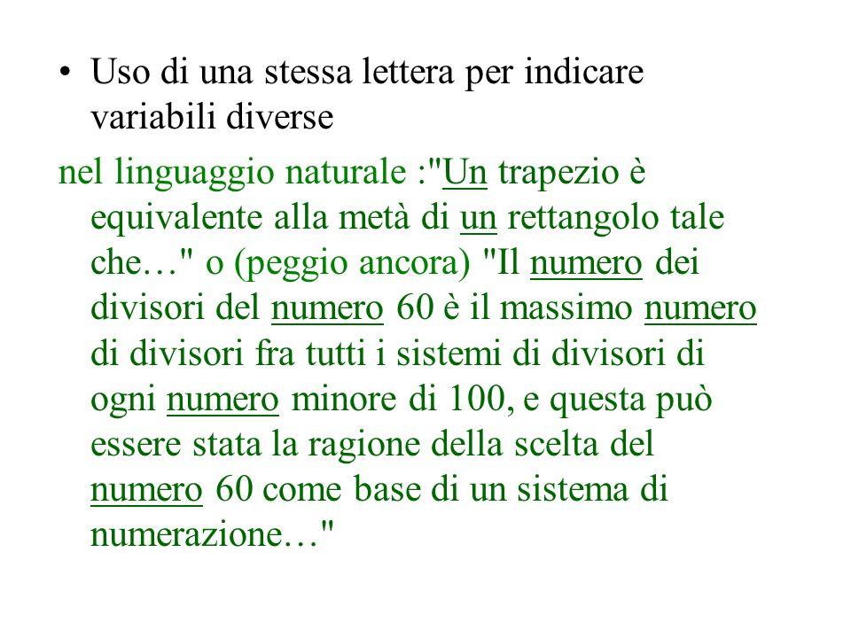 Uso di una stessa lettera per indicare variabili diverse