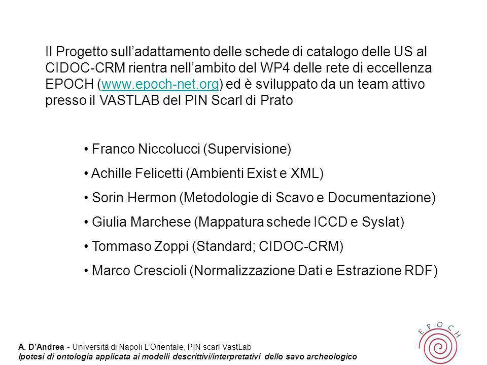 Il Progetto sull'adattamento delle schede di catalogo delle US al CIDOC-CRM rientra nell'ambito del WP4 delle rete di eccellenza EPOCH (www.epoch-net.org) ed è sviluppato da un team attivo presso il VASTLAB del PIN Scarl di Prato