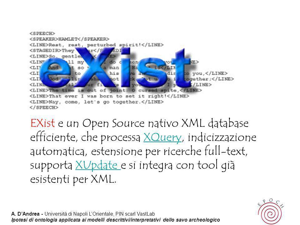 EXist e un Open Source nativo XML database efficiente, che processa XQuery, indicizzazione automatica, estensione per ricerche full-text, supporta XUpdate e si integra con tool già esistenti per XML.