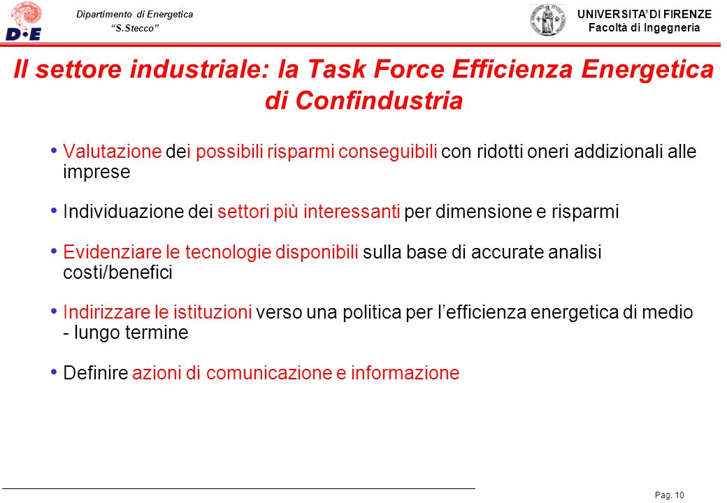 Il settore industriale: la Task Force Efficienza Energetica di Confindustria