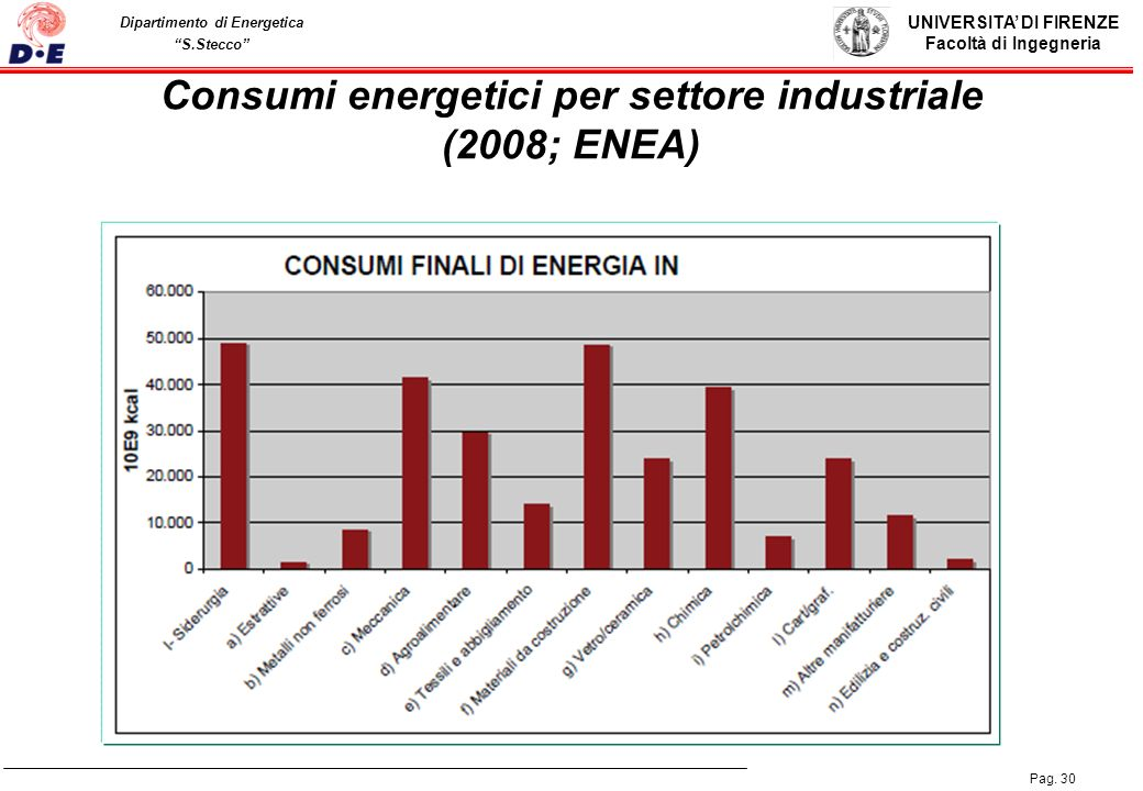 Consumi energetici per settore industriale (2008; ENEA)