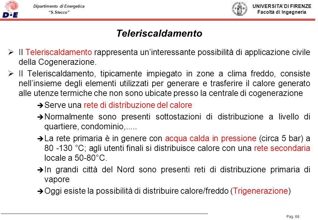 Teleriscaldamento Il Teleriscaldamento rappresenta un'interessante possibilità di applicazione civile della Cogenerazione.