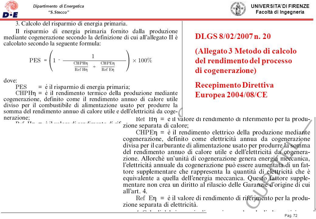 Recepimento Direttiva Europea 2004/08/CE