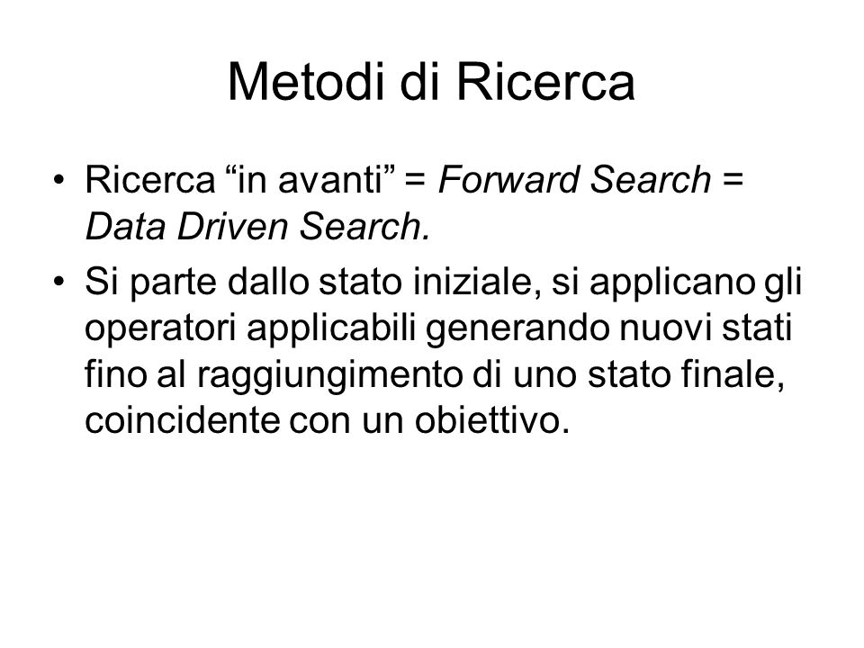 Metodi di Ricerca Ricerca in avanti = Forward Search = Data Driven Search.