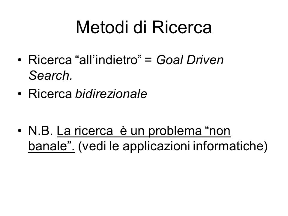 Metodi di Ricerca Ricerca all'indietro = Goal Driven Search.