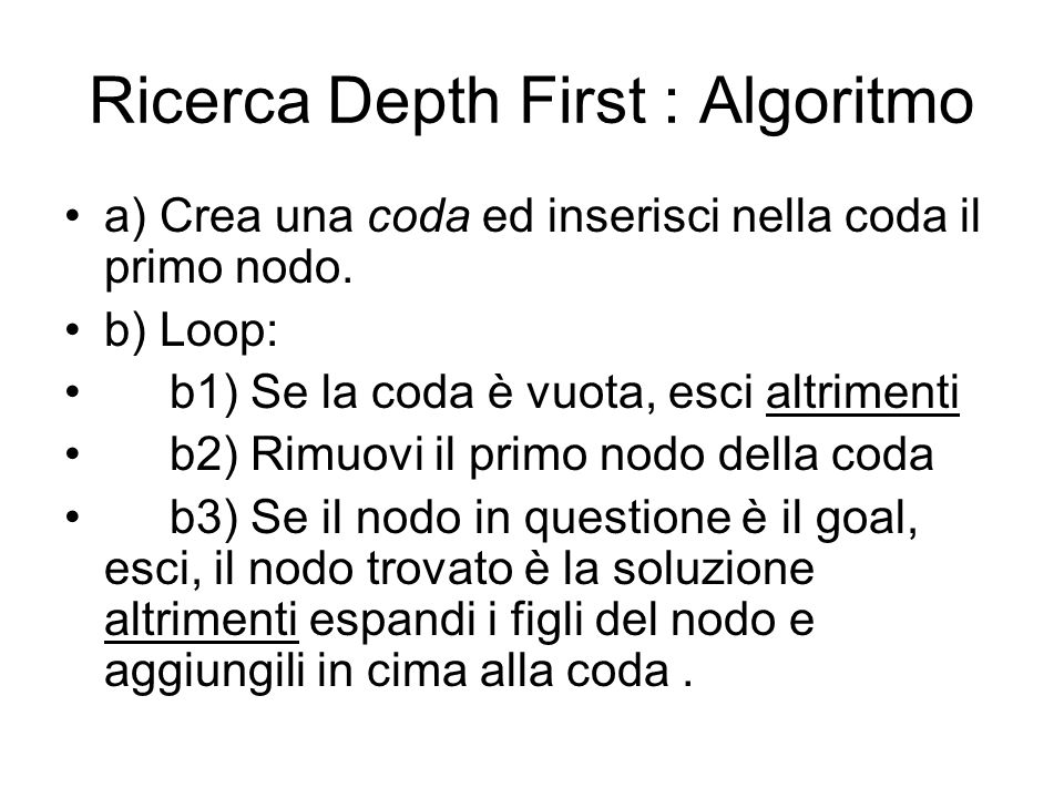 Ricerca Depth First : Algoritmo