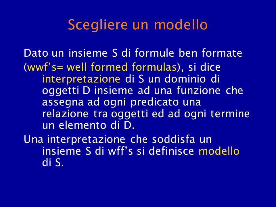 Scegliere un modello Dato un insieme S di formule ben formate