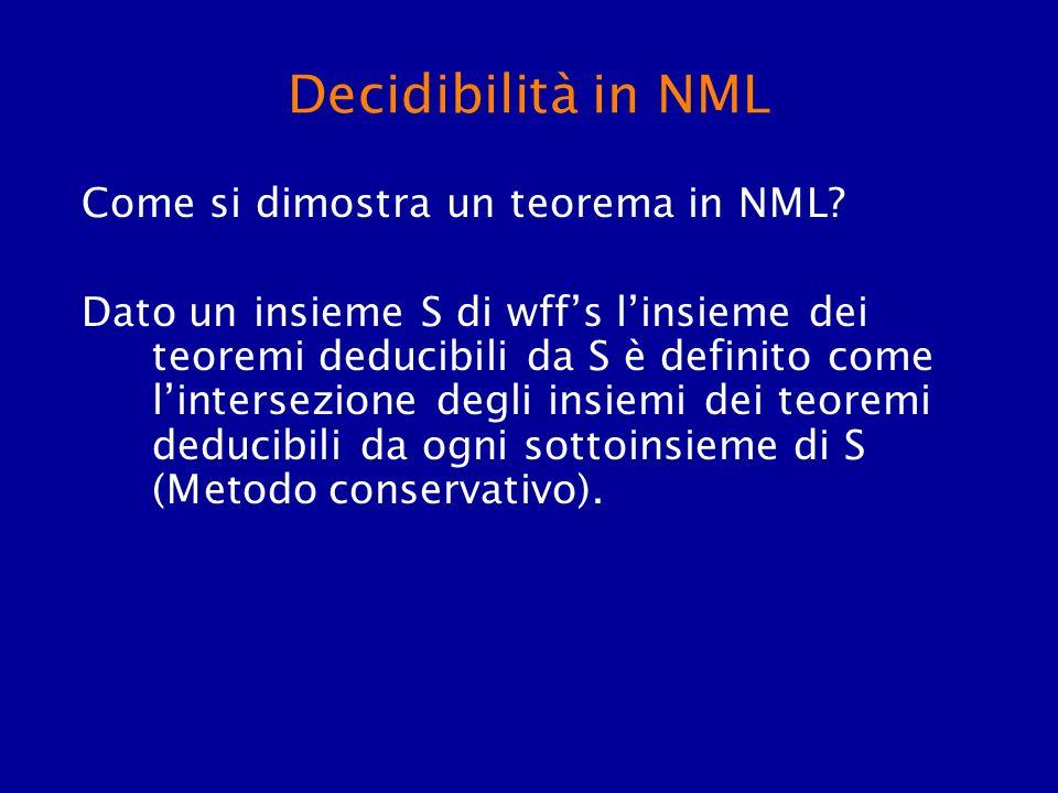 Decidibilità in NML Come si dimostra un teorema in NML