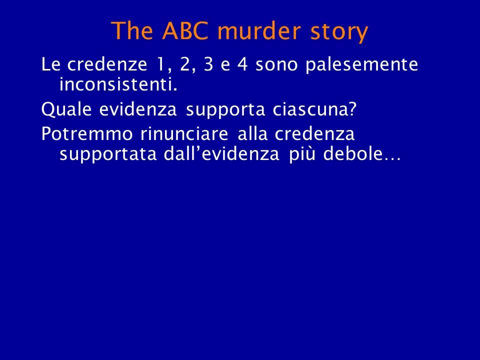 The ABC murder story Le credenze 1, 2, 3 e 4 sono palesemente inconsistenti. Quale evidenza supporta ciascuna