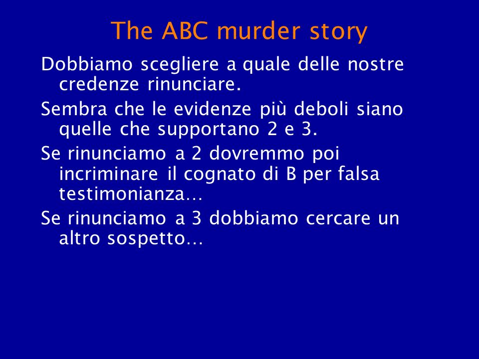 The ABC murder story Dobbiamo scegliere a quale delle nostre credenze rinunciare.