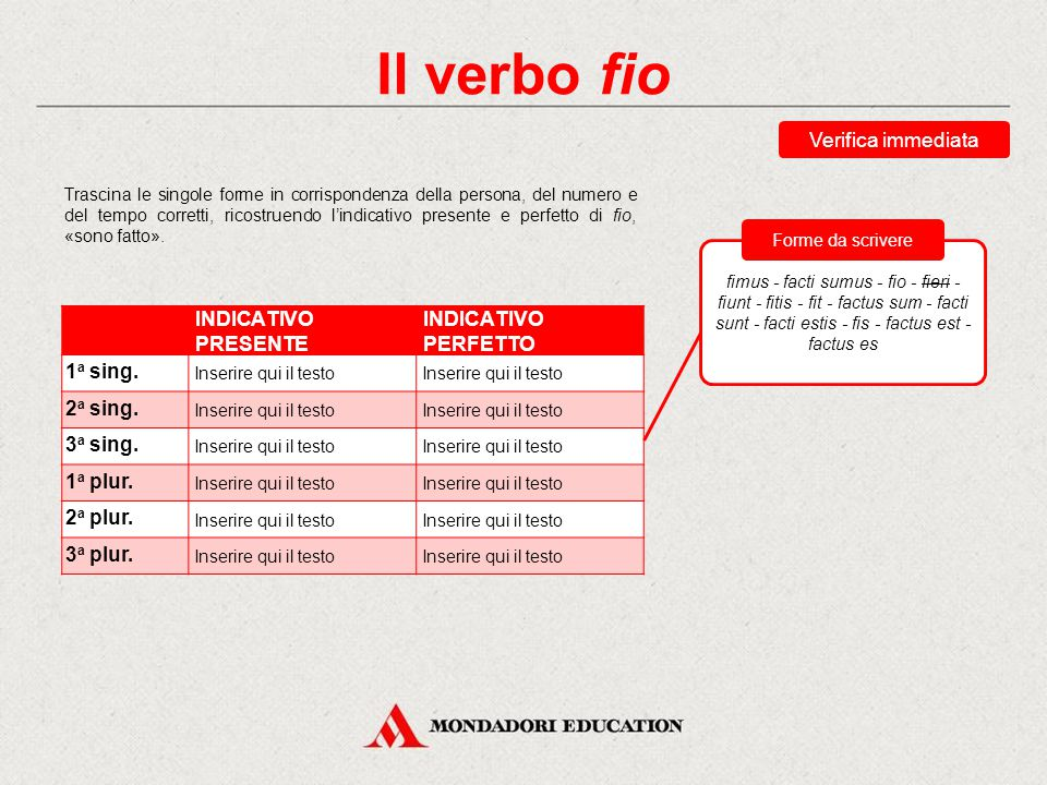 Il verbo fio Verifica immediata INDICATIVO PRESENTE INDICATIVO