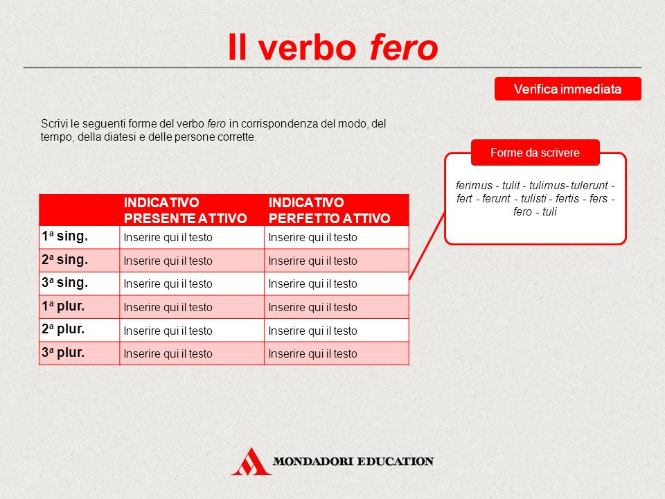Il verbo fero Verifica immediata INDICATIVO PRESENTE ATTIVO