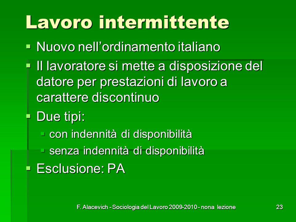 F. Alacevich - Sociologia del Lavoro 2009-2010 - nona lezione