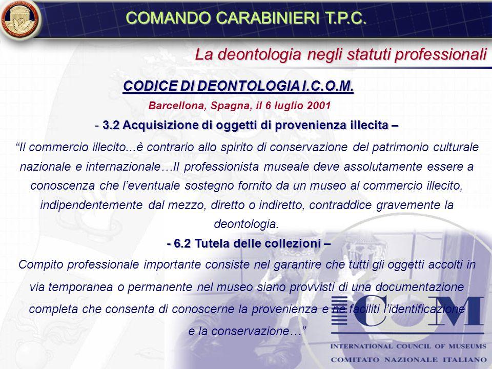 COMANDO CARABINIERI T.P.C.