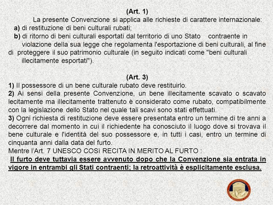 (Art. 1) La presente Convenzione si applica alle richieste di carattere internazionale: a) di restituzione di beni culturali rubati;