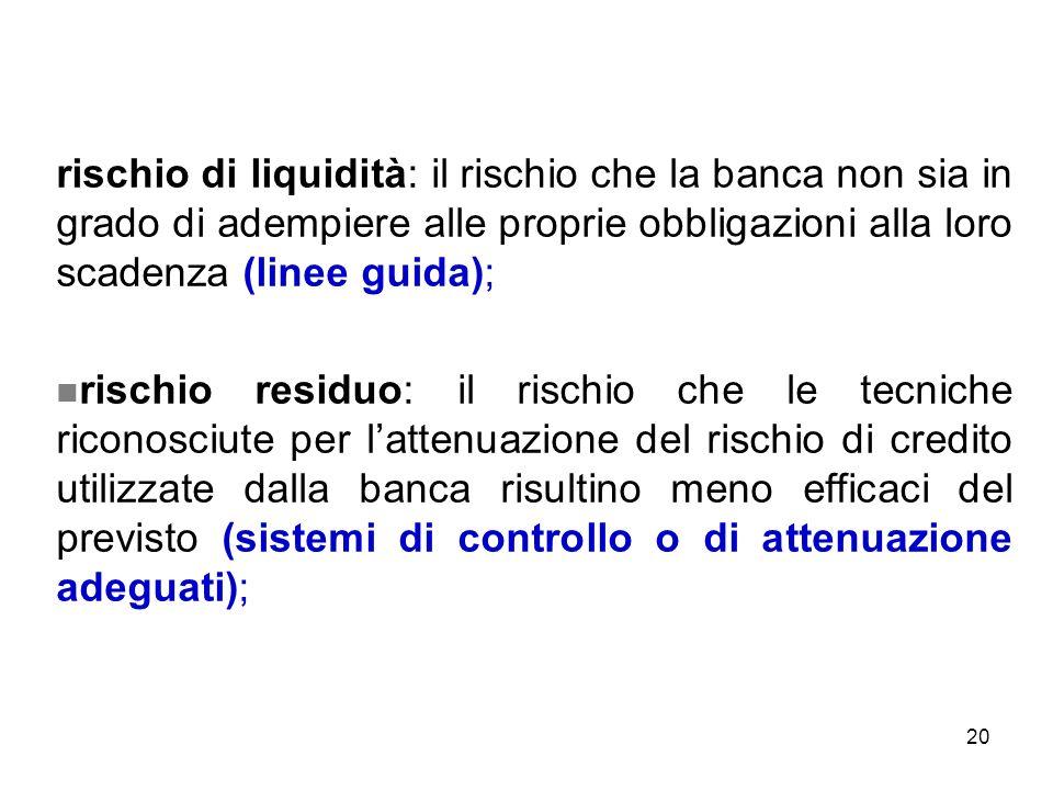 rischio di liquidità: il rischio che la banca non sia in grado di adempiere alle proprie obbligazioni alla loro scadenza (linee guida);