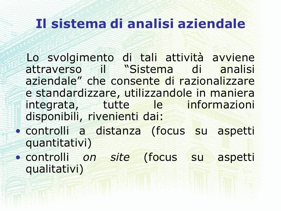 Il sistema di analisi aziendale