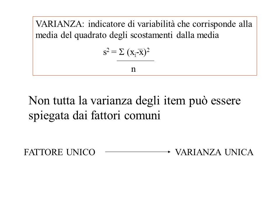 VARIANZA: indicatore di variabilità che corrisponde alla media del quadrato degli scostamenti dalla media