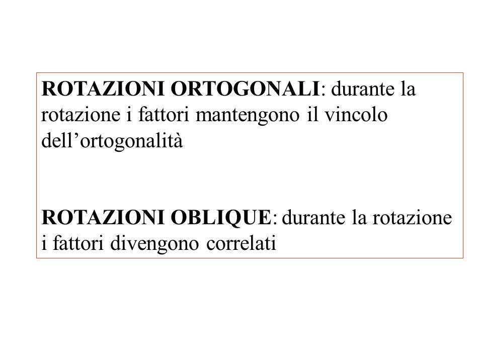 ROTAZIONI ORTOGONALI: durante la rotazione i fattori mantengono il vincolo dell'ortogonalità
