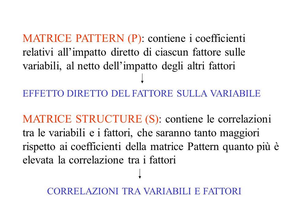 MATRICE PATTERN (P): contiene i coefficienti relativi all'impatto diretto di ciascun fattore sulle variabili, al netto dell'impatto degli altri fattori