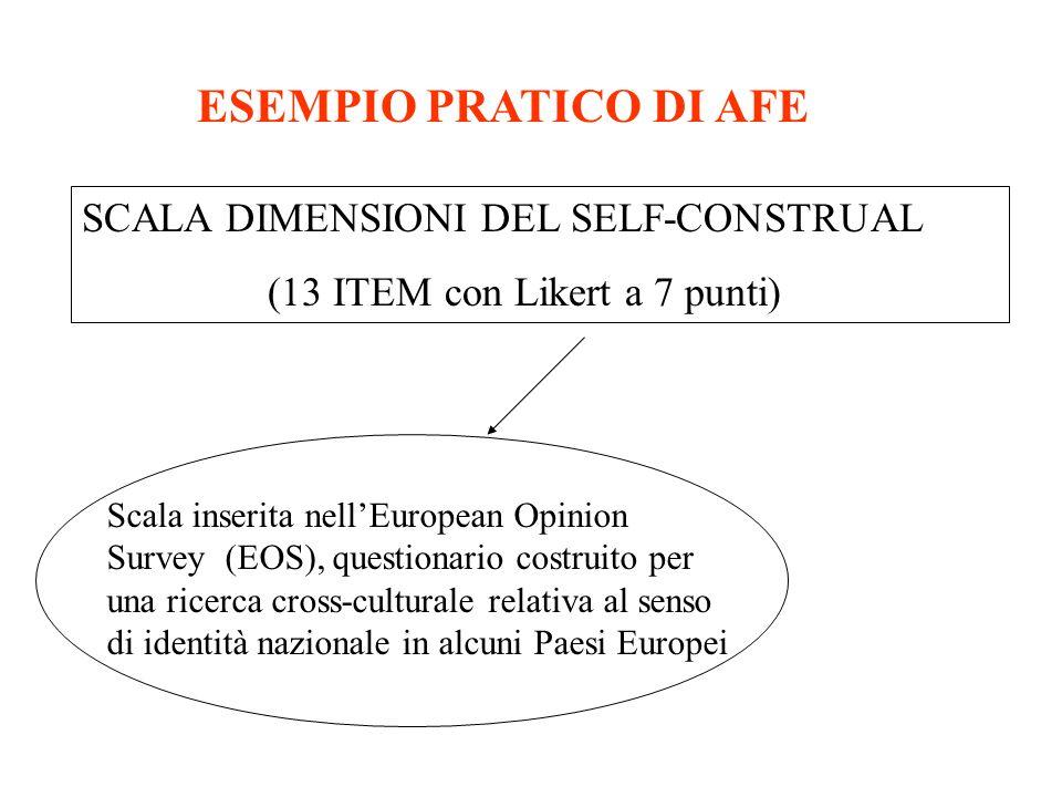 ESEMPIO PRATICO DI AFE SCALA DIMENSIONI DEL SELF-CONSTRUAL
