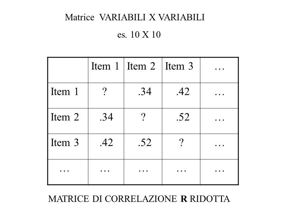 Item 1 Item 2 Item 3 … .34 .42 .52 Matrice VARIABILI X VARIABILI