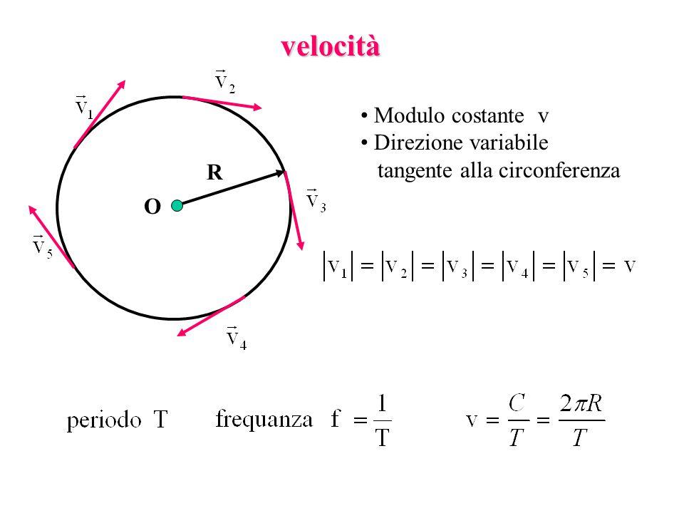 velocità Modulo costante v Direzione variabile