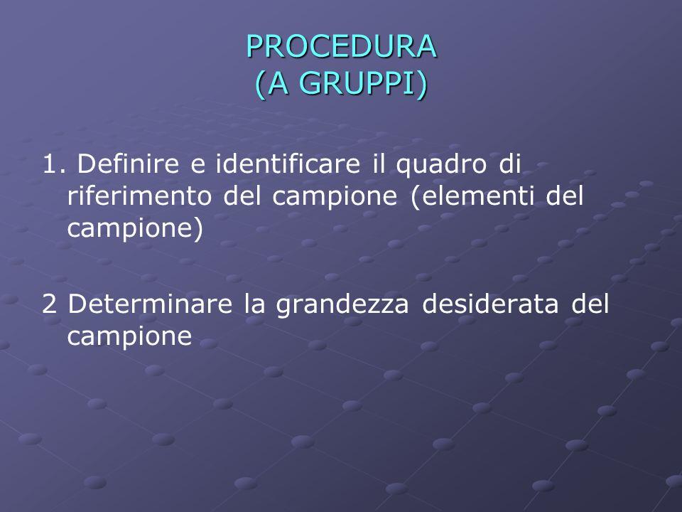PROCEDURA (A GRUPPI) 1. Definire e identificare il quadro di riferimento del campione (elementi del campione)