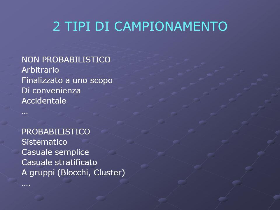 2 TIPI DI CAMPIONAMENTO NON PROBABILISTICO Arbitrario