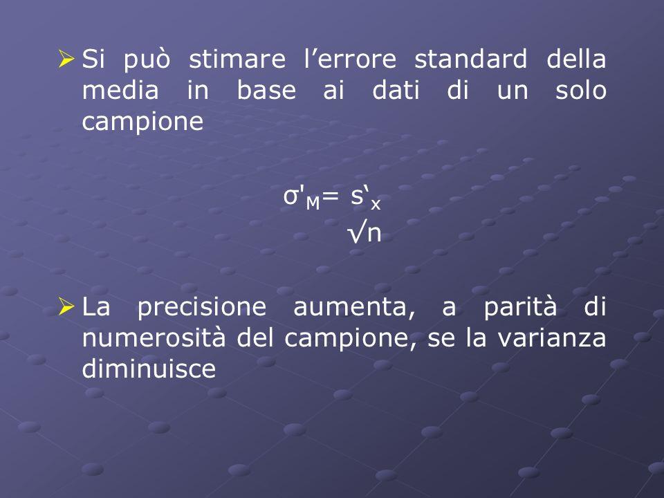 Si può stimare l'errore standard della media in base ai dati di un solo campione