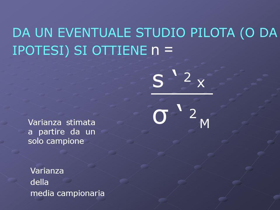 DA UN EVENTUALE STUDIO PILOTA (O DA IPOTESI) SI OTTIENE n =