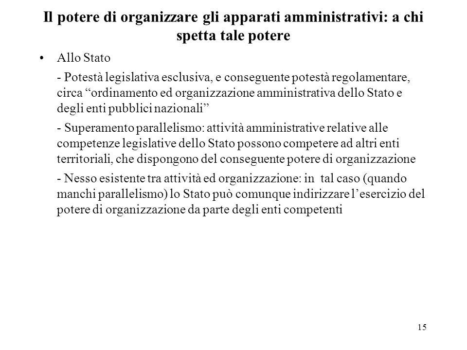 Il potere di organizzare gli apparati amministrativi: a chi spetta tale potere