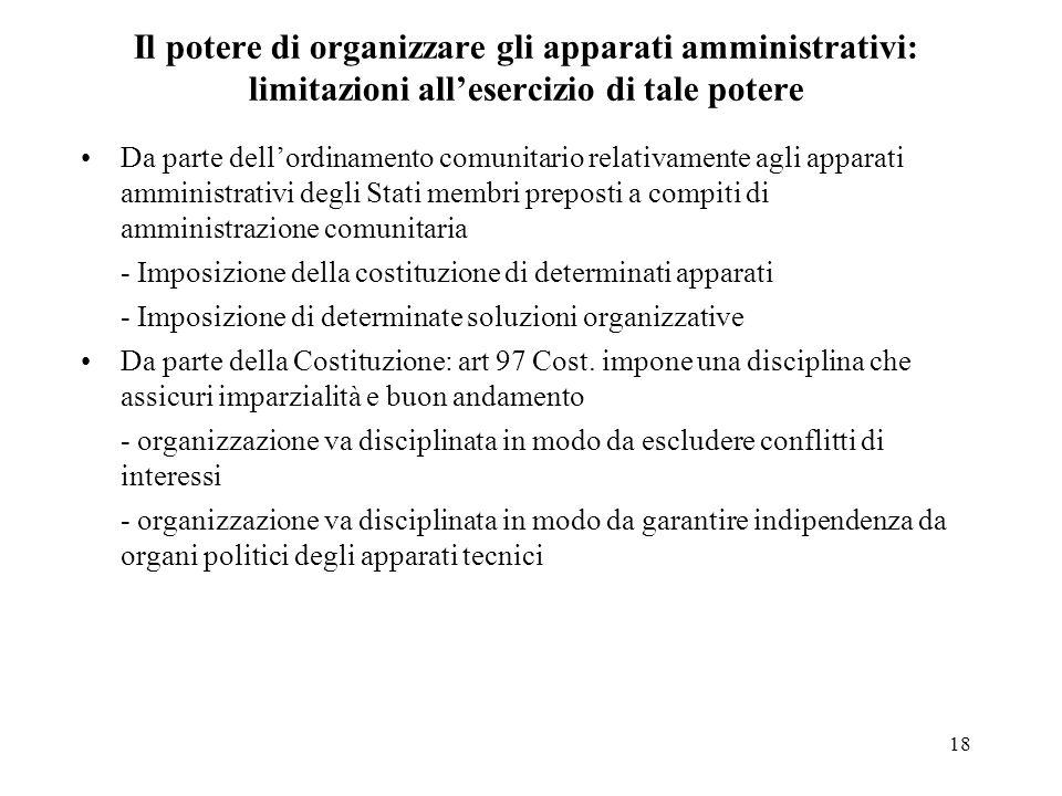 Il potere di organizzare gli apparati amministrativi: limitazioni all'esercizio di tale potere