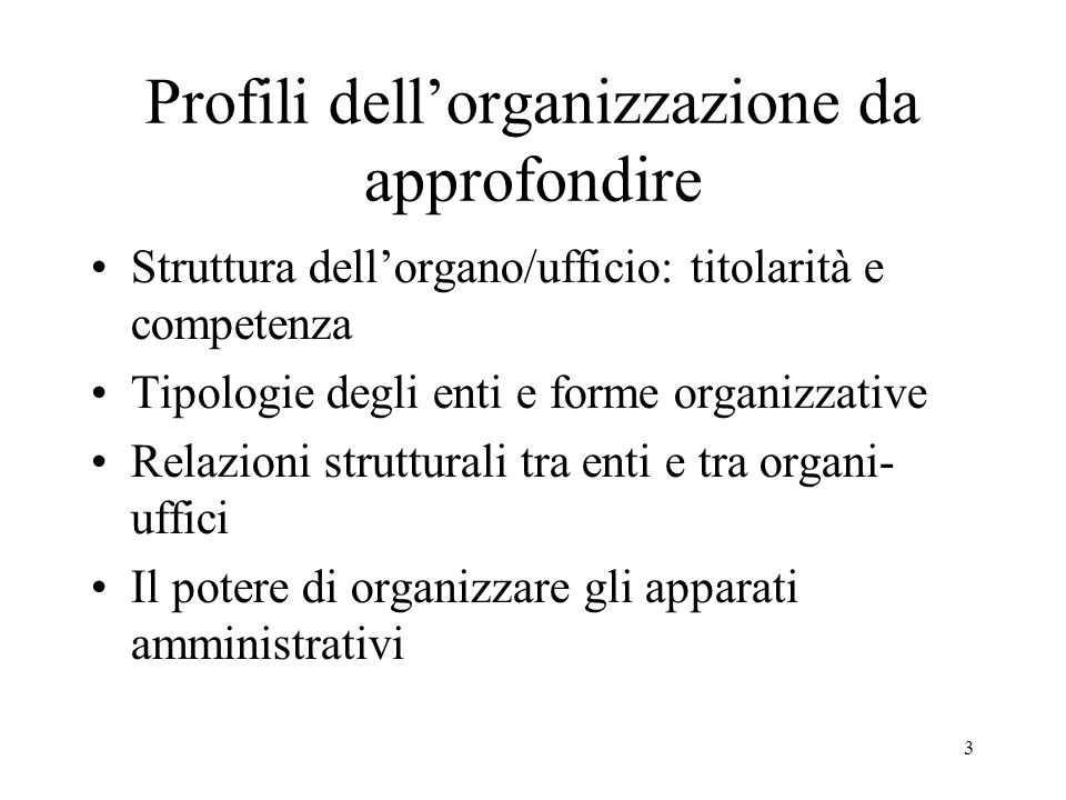 Profili dell'organizzazione da approfondire