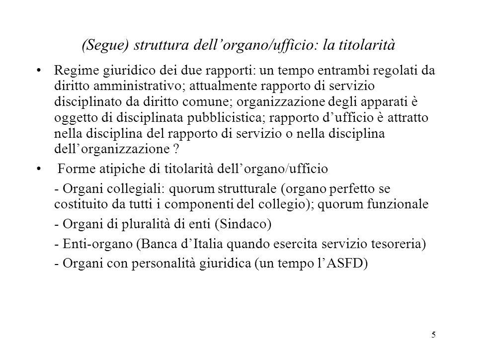 (Segue) struttura dell'organo/ufficio: la titolarità