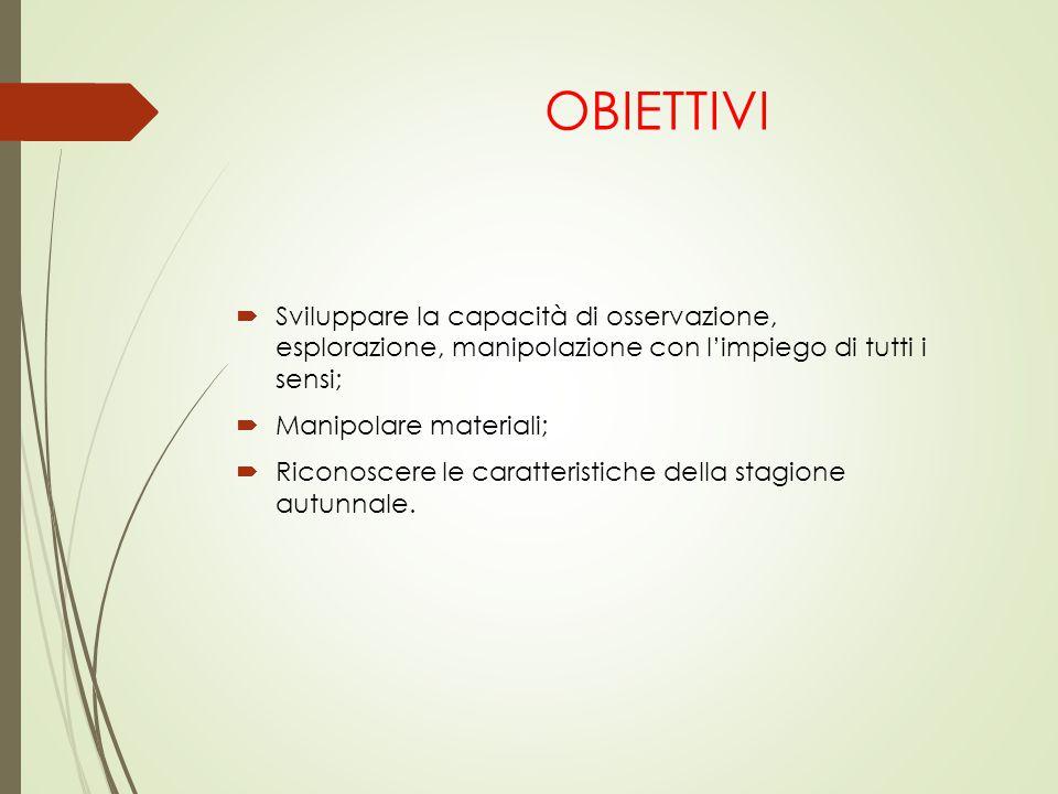 OBIETTIVI Sviluppare la capacità di osservazione, esplorazione, manipolazione con l'impiego di tutti i sensi;