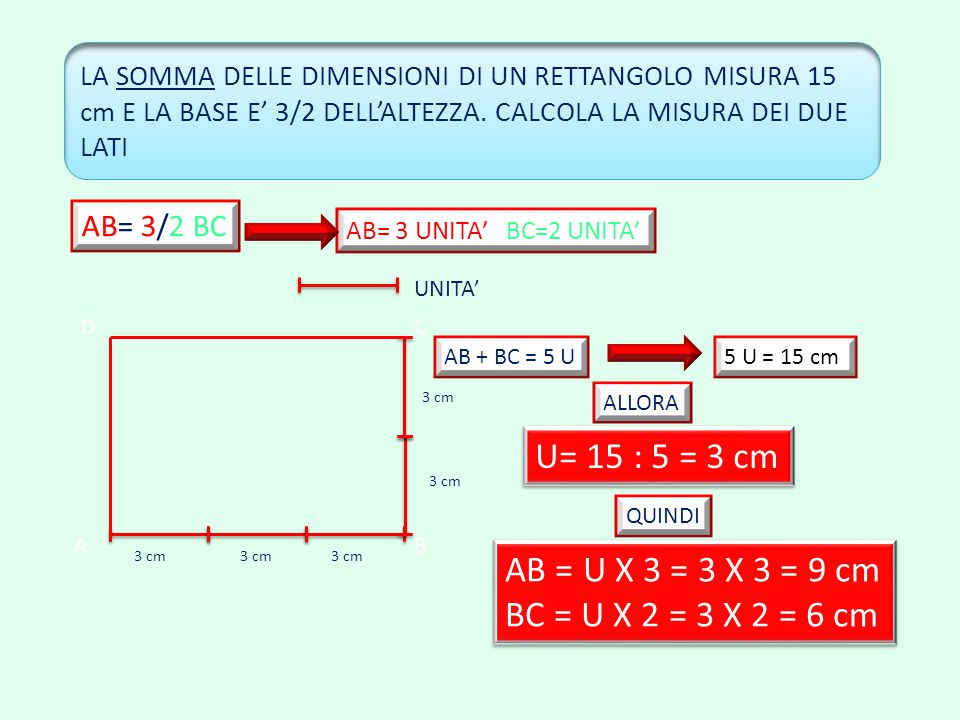 U= 15 : 5 = 3 cm AB = U X 3 = 3 X 3 = 9 cm BC = U X 2 = 3 X 2 = 6 cm