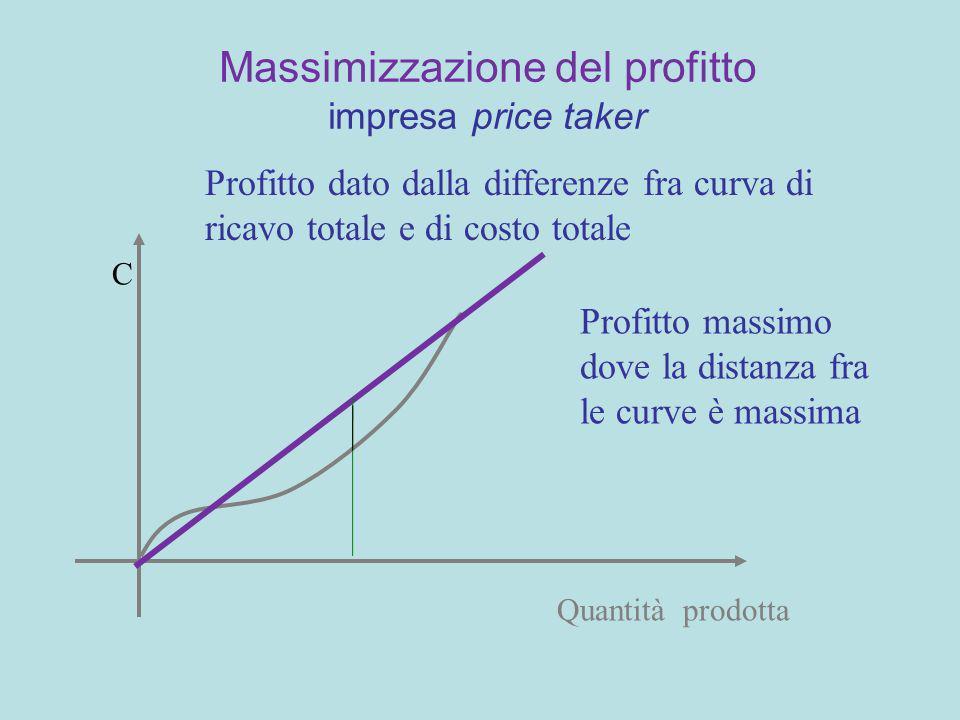 Massimizzazione del profitto impresa price taker