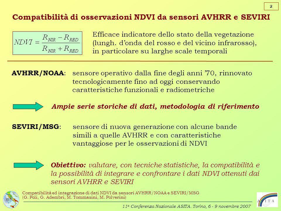 Compatibilità di osservazioni NDVI da sensori AVHRR e SEVIRI
