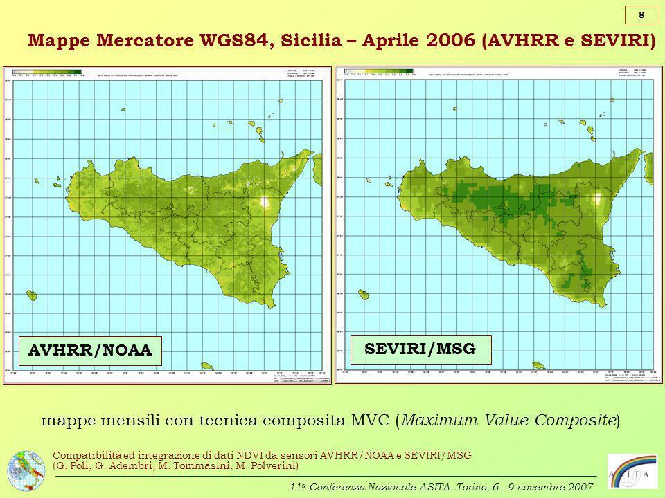 Mappe Mercatore WGS84, Sicilia – Aprile 2006 (AVHRR e SEVIRI)