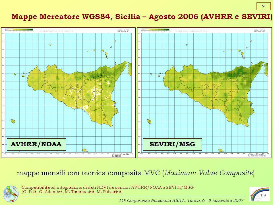 Mappe Mercatore WGS84, Sicilia – Agosto 2006 (AVHRR e SEVIRI)