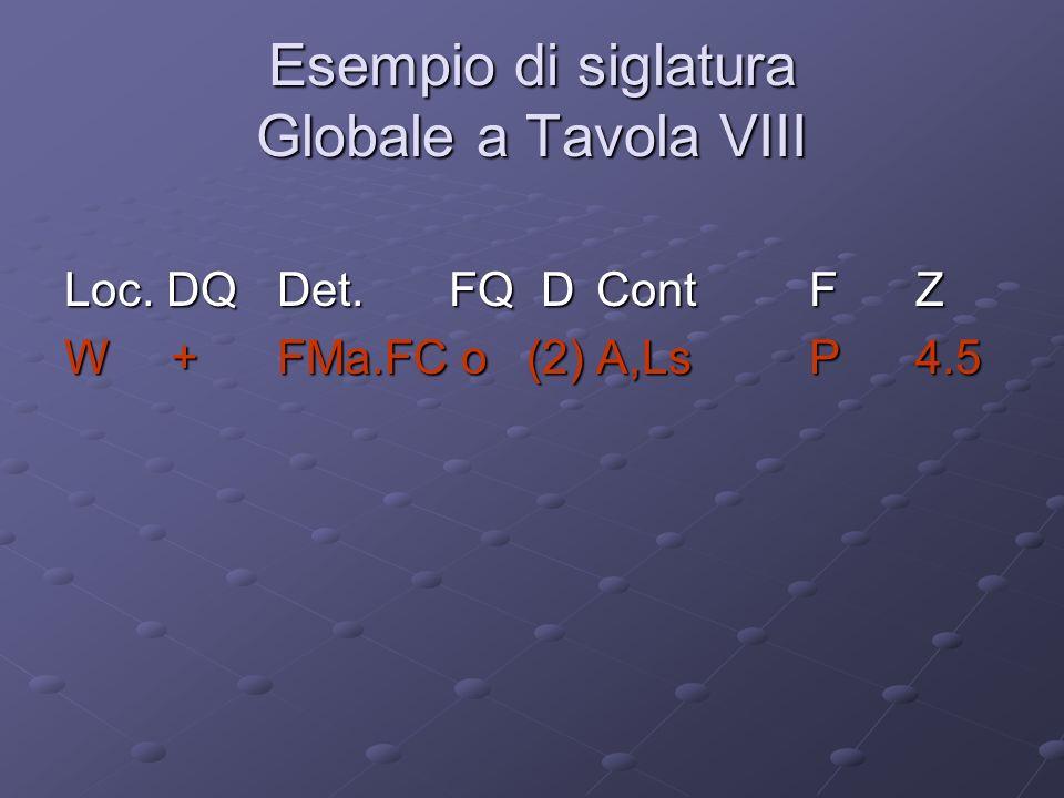 Esempio di siglatura Globale a Tavola VIII